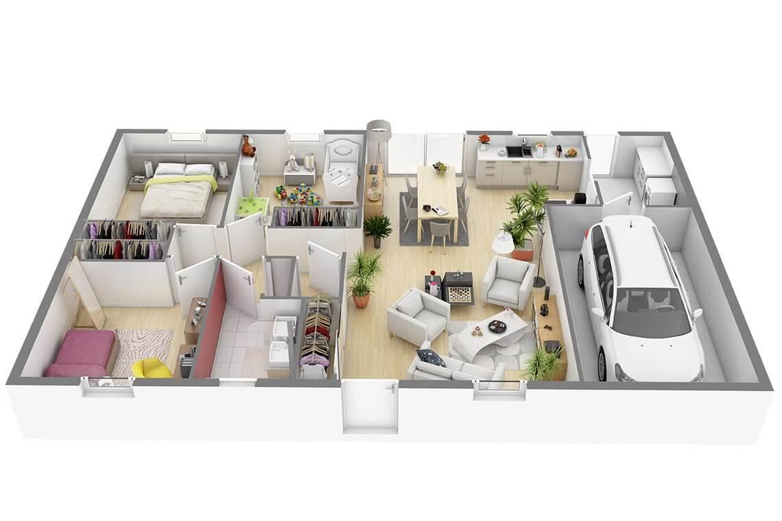 Plan De Maison Individuelle Plain Pied 1