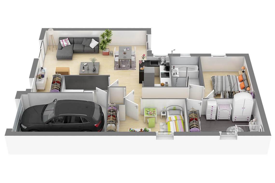 Solano Nl Plan Maison Traditionnelle Plain Pied 88m2 Maisons Coherence Maisons Coherence Constructeur De Maisons Sur Mesure